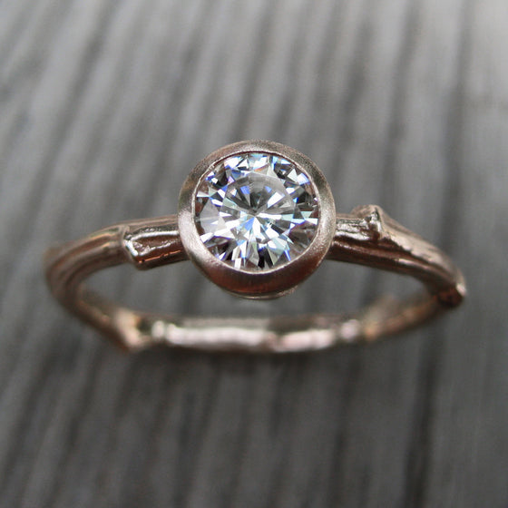 .5ct rose gold twig solitaire engagement ring with a Forever One moissanite