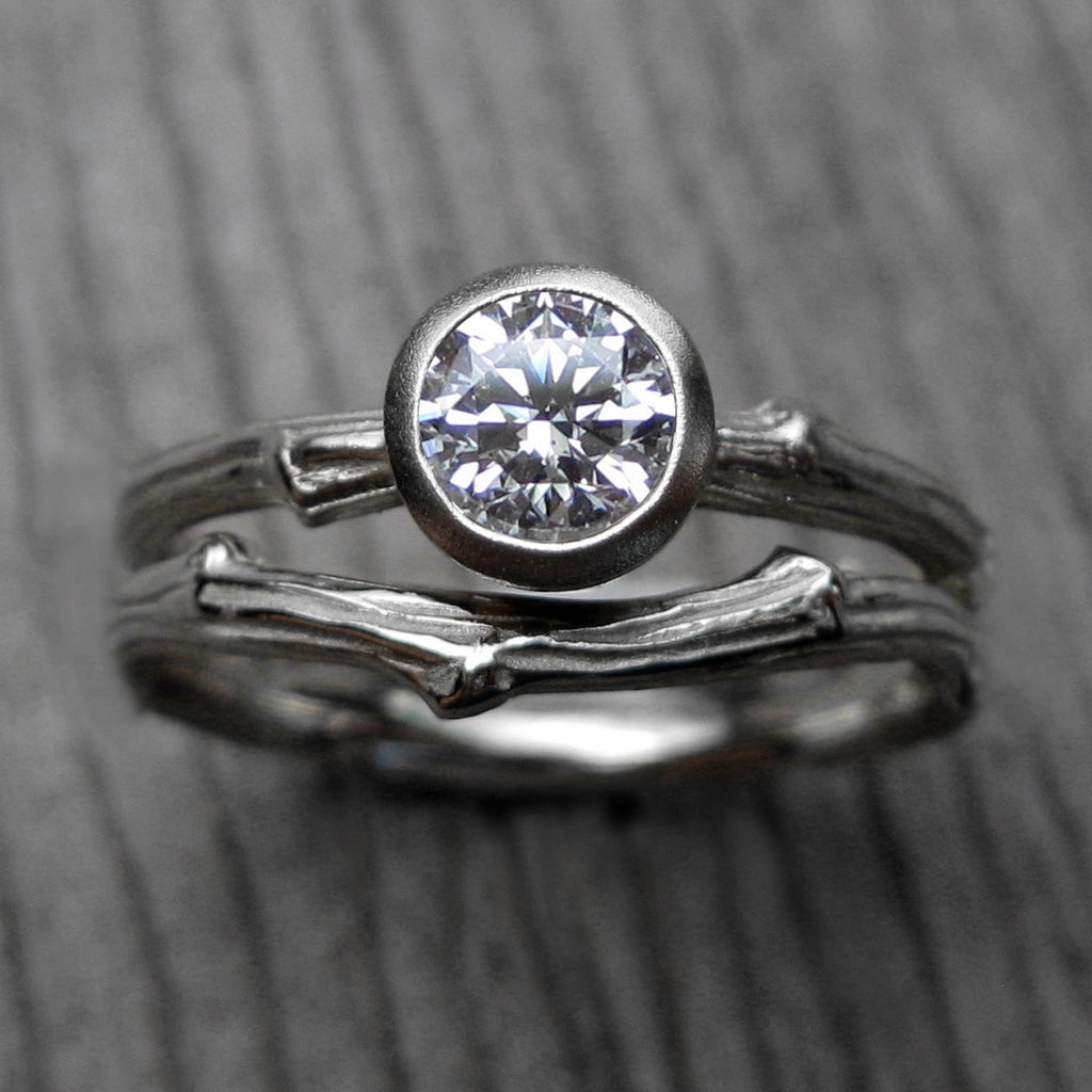 Round Cut Forever Brilliant Moissanite Twig Engagement Ring; .5 carat