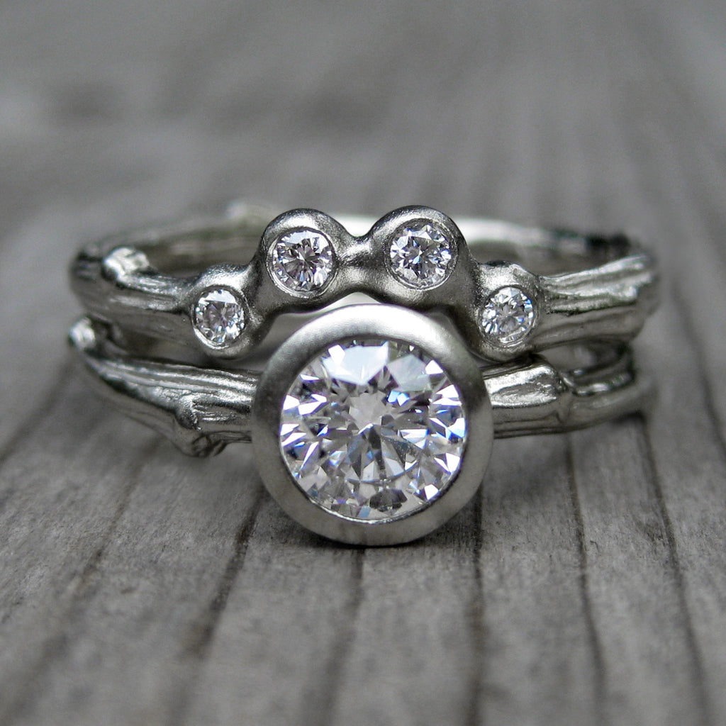Moissanite Twig Engagement Ring & Diamond Arc Wedding Ring Set