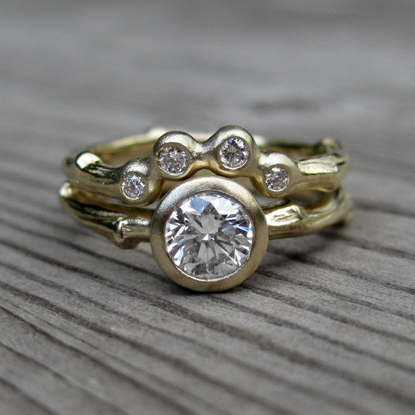moissanite twig engagement arc wedding rings