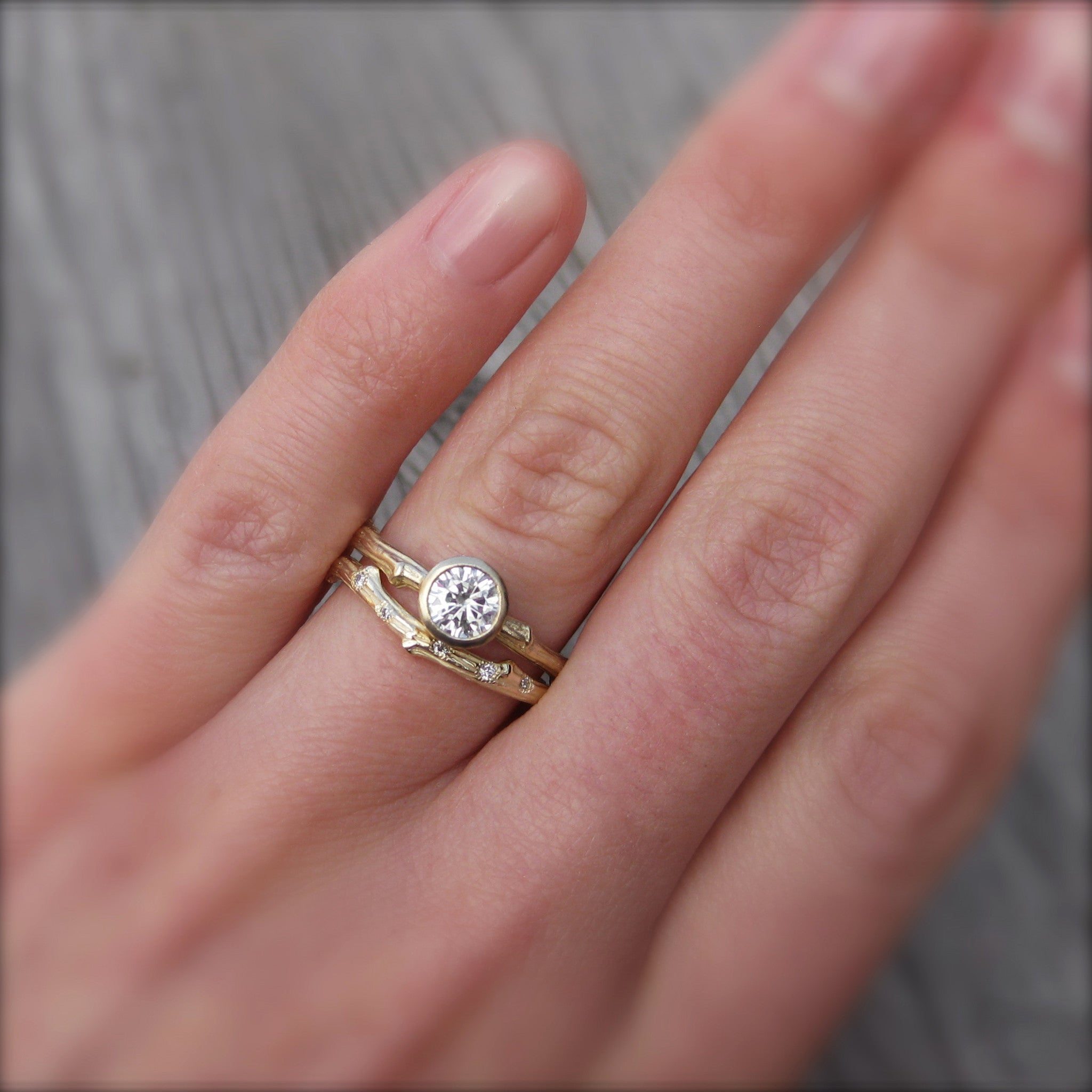 Round Forever One Moissanite Twig Engagement Ring; .5 carat ...