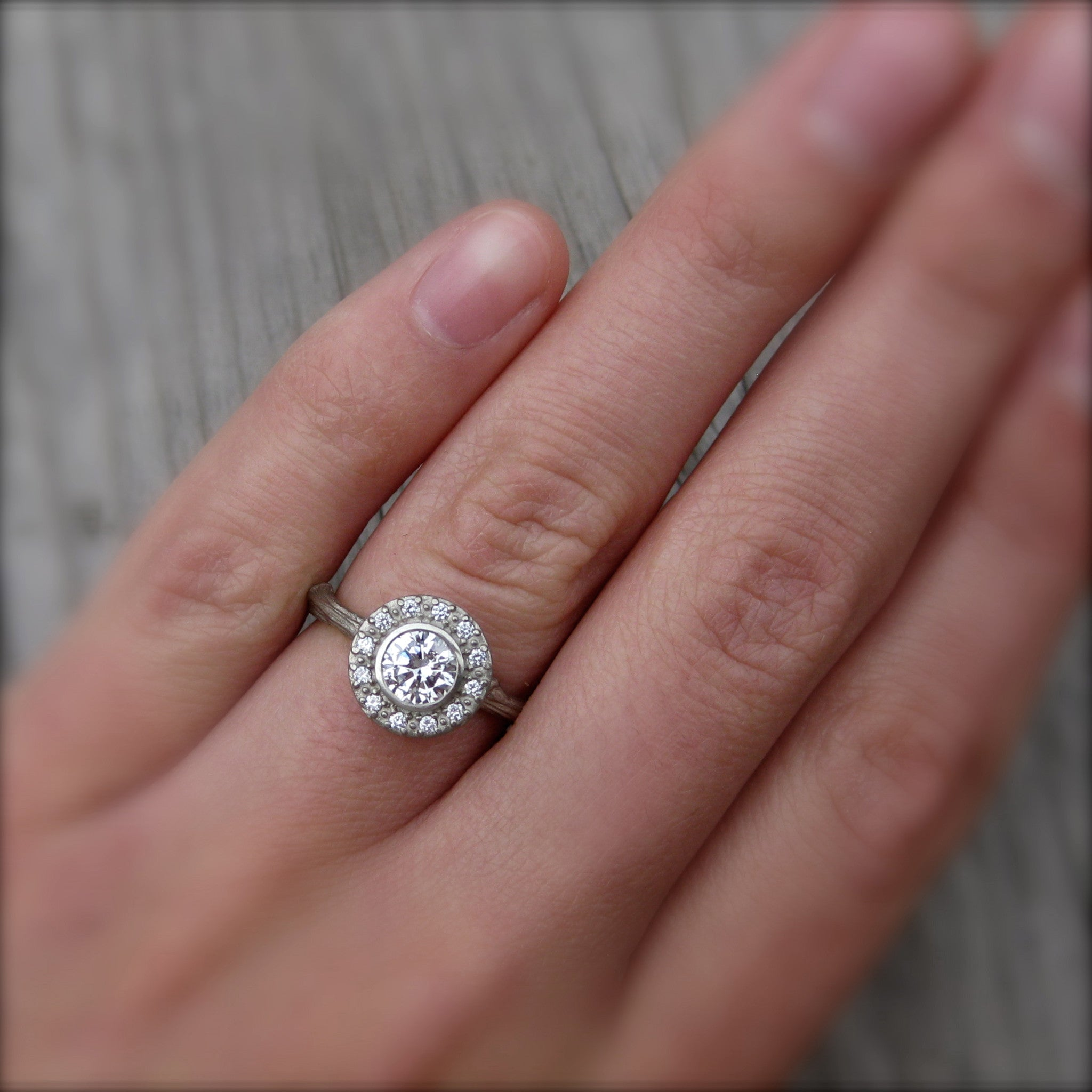round forever brilliant moissanite twig halo engagement ring - Moissanite Wedding Rings