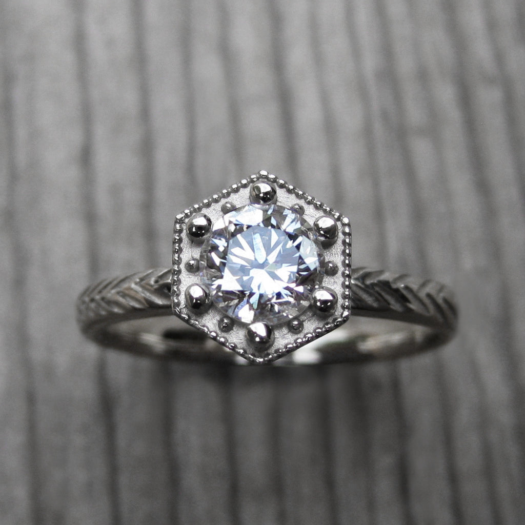 Round Forever One™ Moissanite Feather Engagement Ring, Hexagon Setting (.5ct)