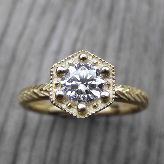 .5ct Art Deco engagement ring with a Forever One Hearts & Arrows moissanite in choice of rose or white or yellow gold