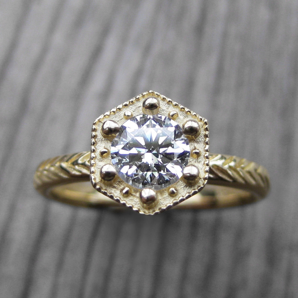 Diamond Hexagon Feather Engagement Ring, VS1/G (.50ct)
