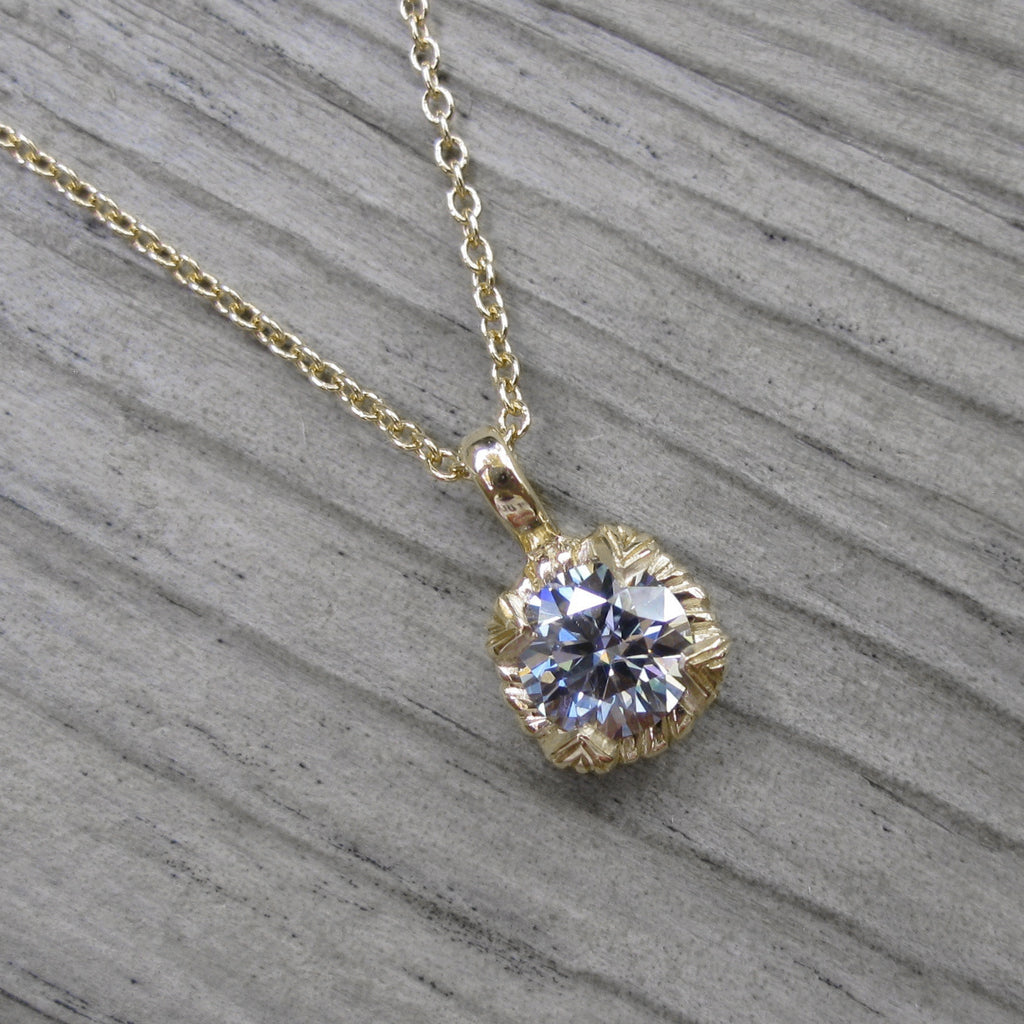 Light Grey Moissanite Carved Floral Necklace (.50ct)