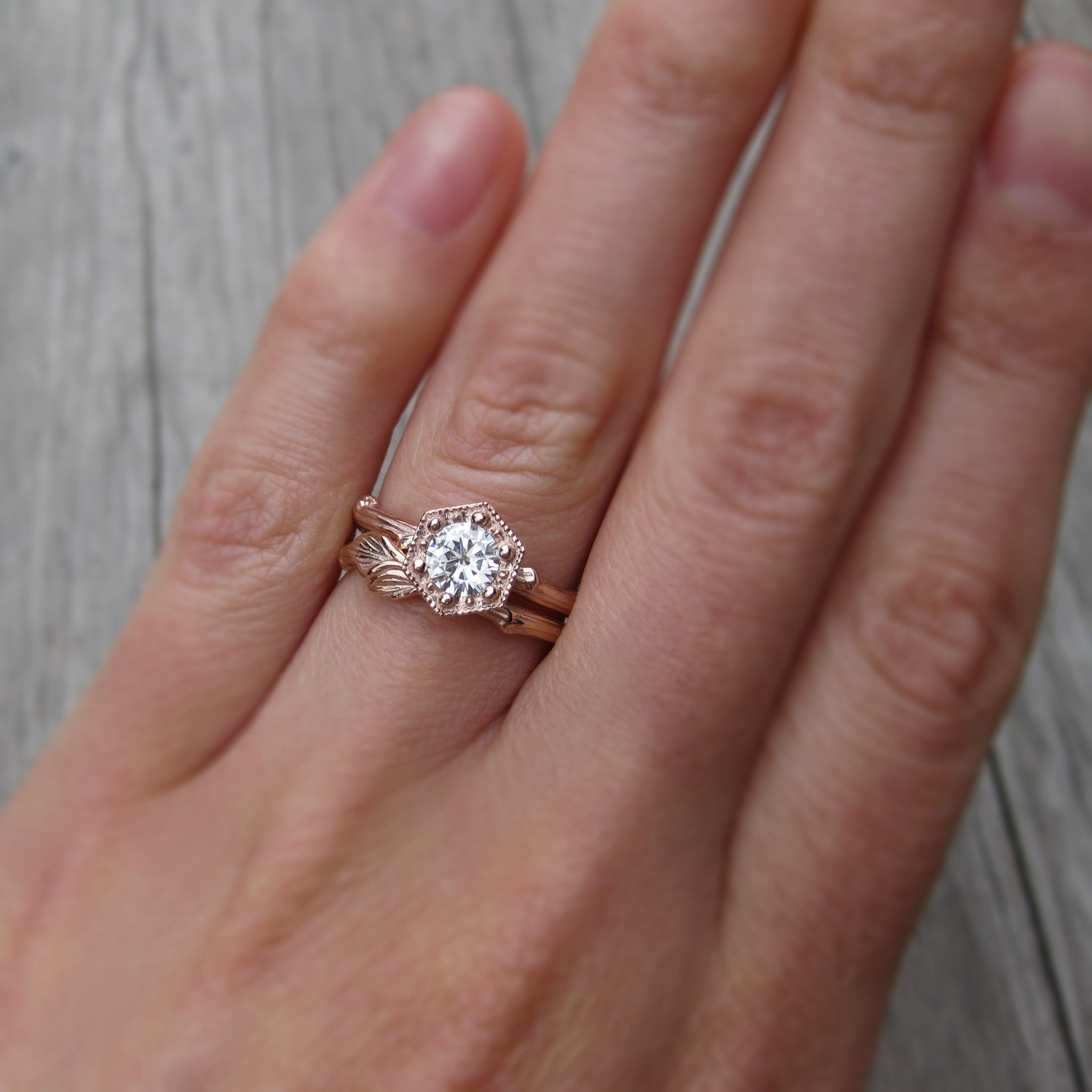 Forever Brilliant Moissanite Hexagon Twig Engagement Ring 1ct
