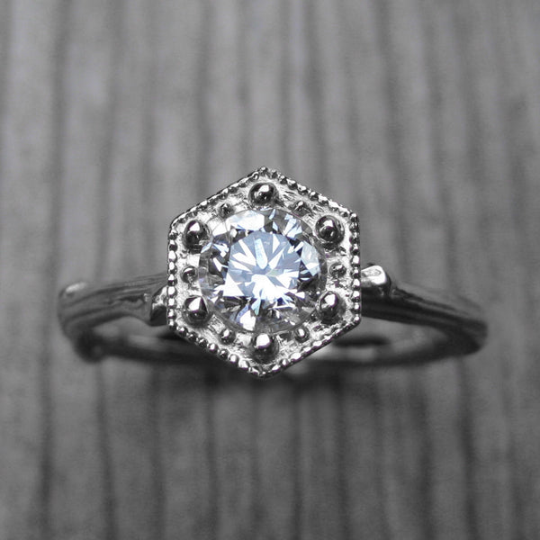 Diamond Hexagon Twig Engagement Ring, SI1/F (.50ct)