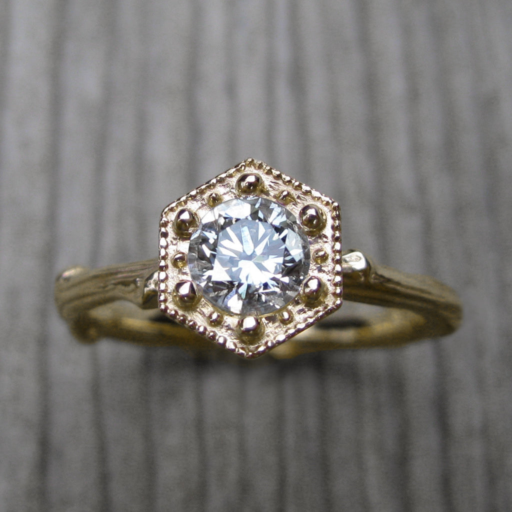 Round Forever One™ Moissanite Twig Engagement Ring, Hexagon Setting (.5ct)