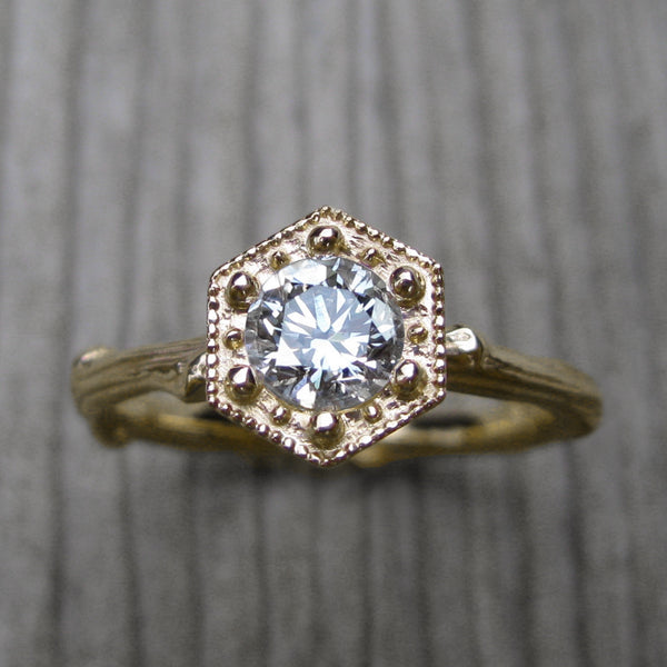 Diamond Hexagon Twig Engagement Ring (.50ct Ideal cut VVS1/G)
