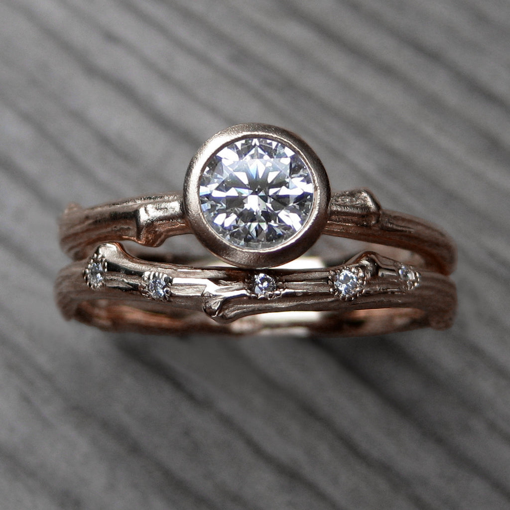 Forever One™ Moissanite Twig Engagement & Diamond Wedding Ring Set