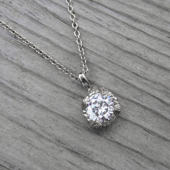 <center><strong>・VIOLET NECKLACE・</strong><br></center> Forever One Hearts & Arrows Moissanite (.50ct, Ready to Ship)