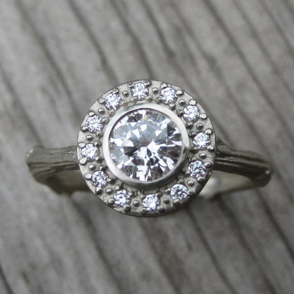 Diamond Halo Twig Engagement Ring, VS1/G (.50ct Center)