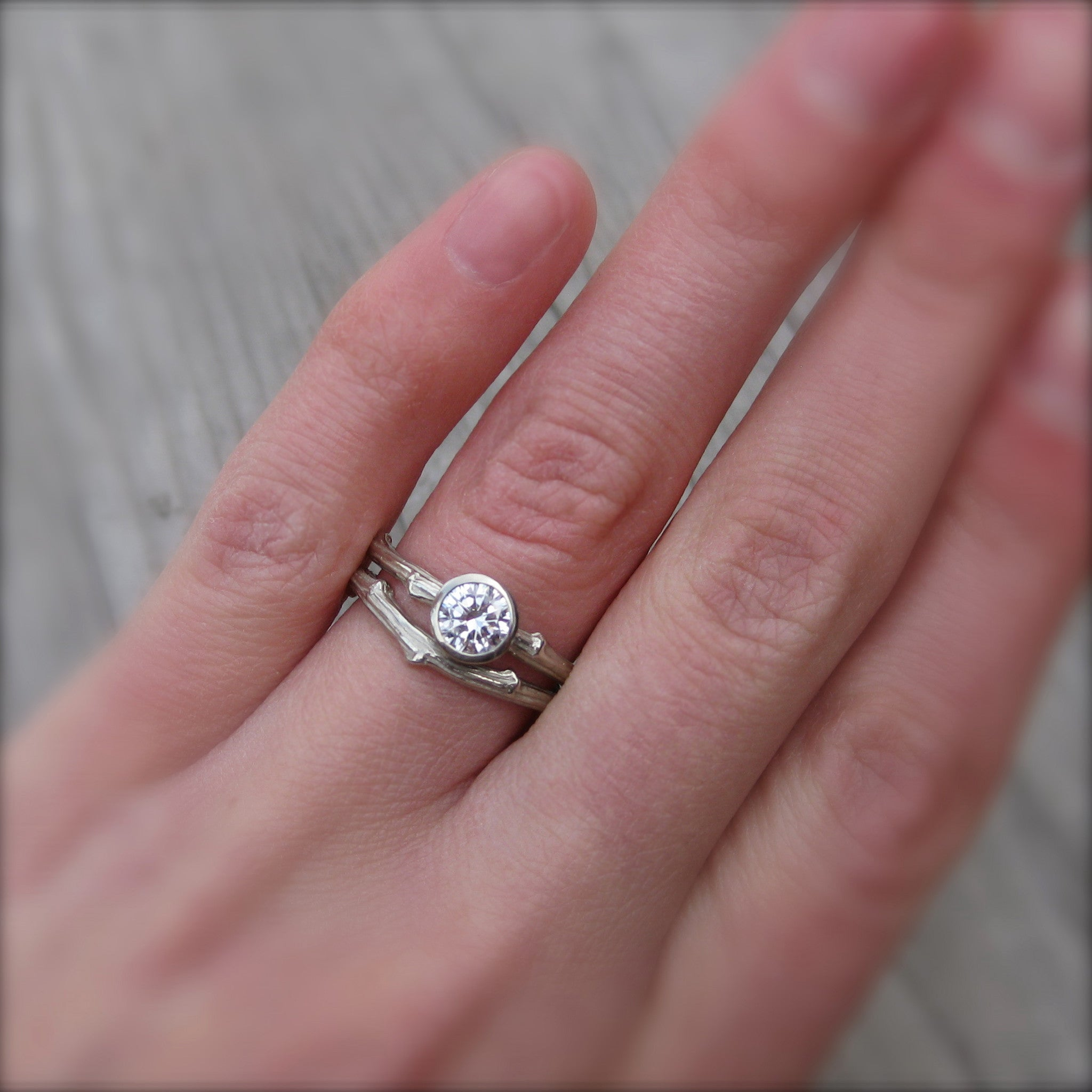 forever one moissanite branch engagement ring wedding band
