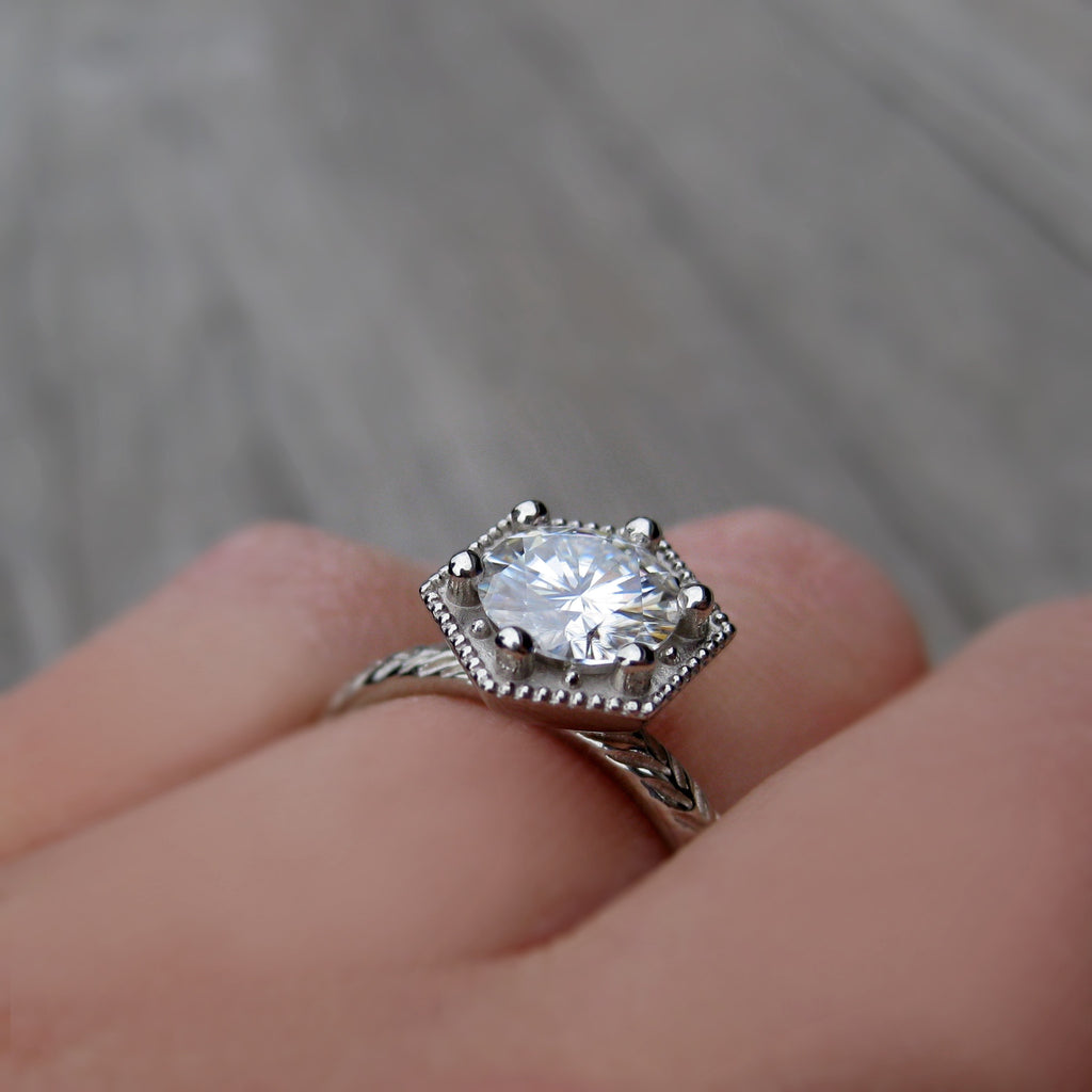 1ct Art Deco engagement ring with a Forever One Hearts & Arrows moissanite in choice of rose or white gold