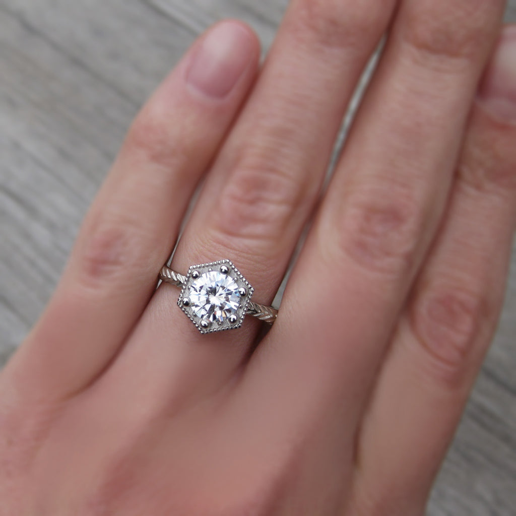 Forever One Moissanite Feather Engagement Ring |1ct
