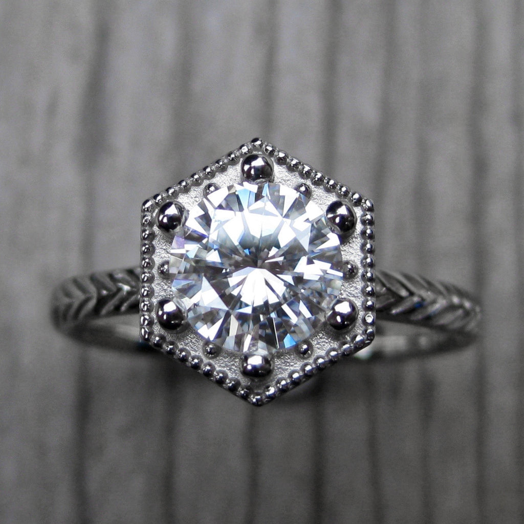 Forever One™ or Supernova™ Moissanite Feather Engagement Ring, Hexagon Setting (1ct)