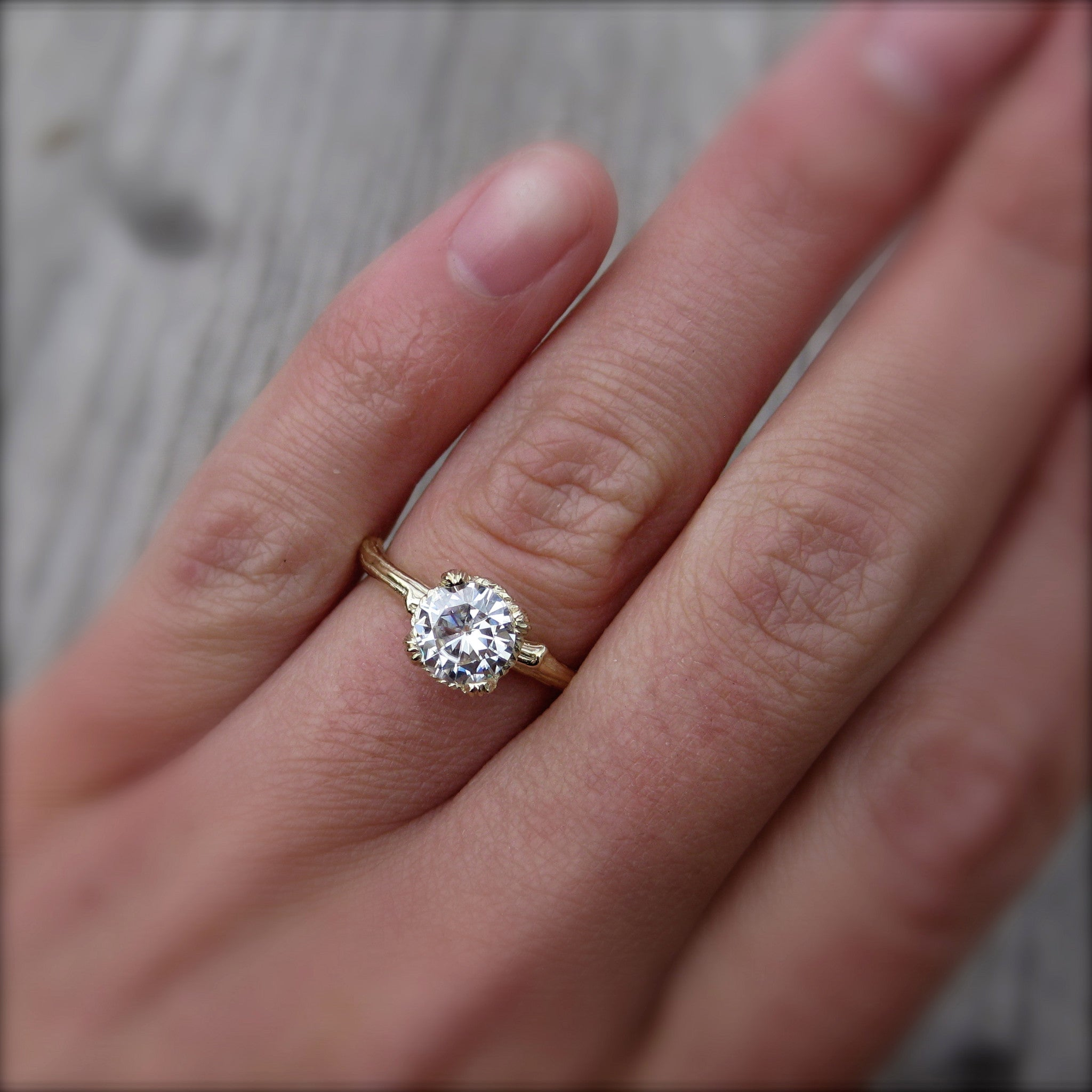 Forever One Moissanite Twig Engagement Ring  Carved Floral Setting