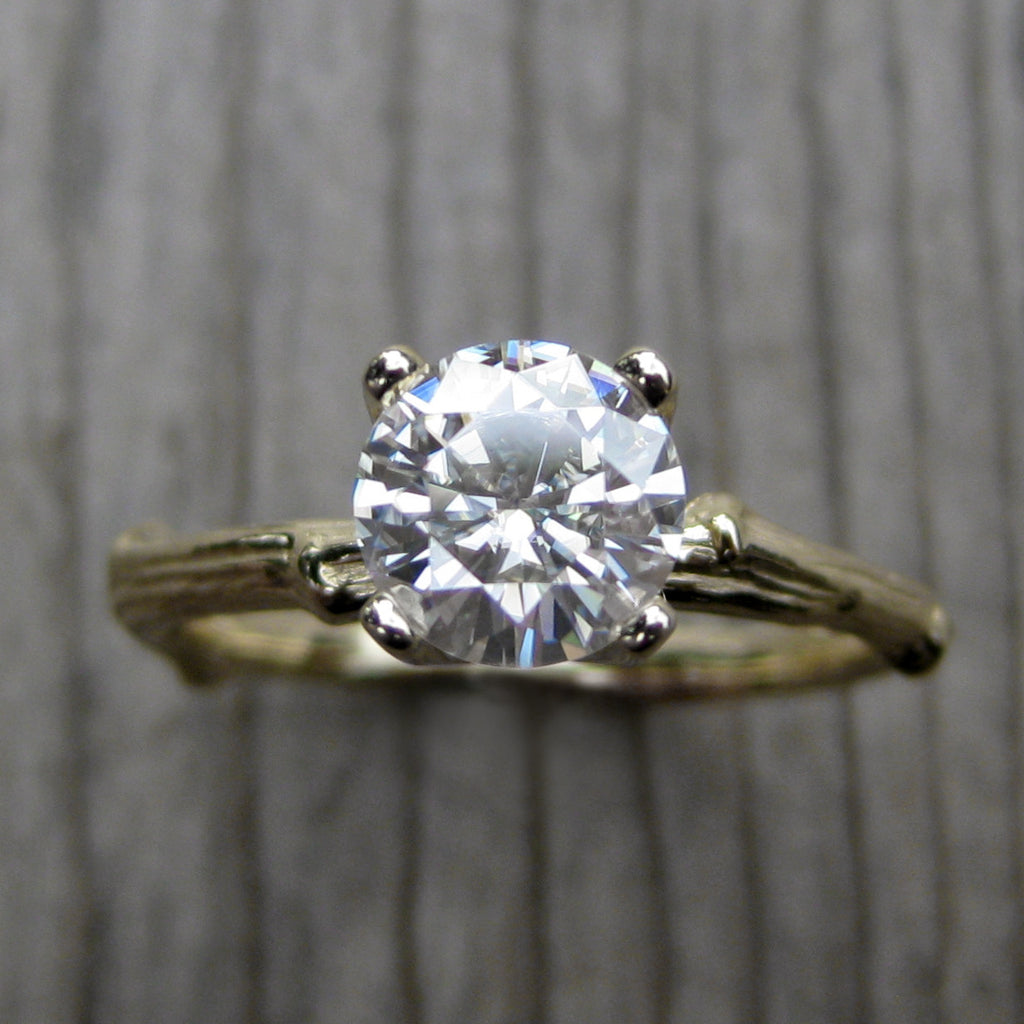 Top view of solitaire twig engagement ring with a lab grown diamond in 14k rose or yellow gold