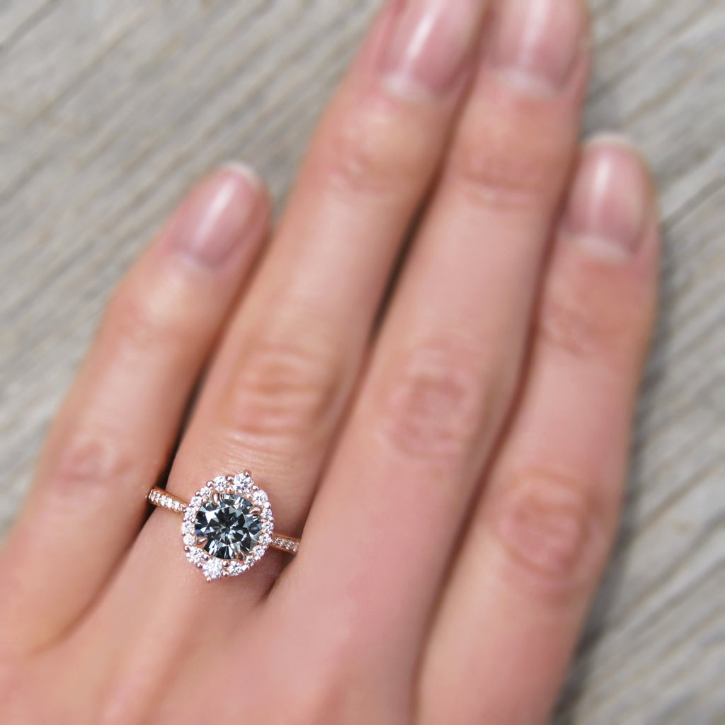 <center><strong>・EMERSON・</strong><br></center>Charles & Colvard Grey Moissanite Center, Diamond Halo (1.27ctw+)