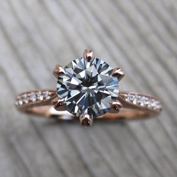 Iconic Grey Moissanite Engagement Ring in yellow gold