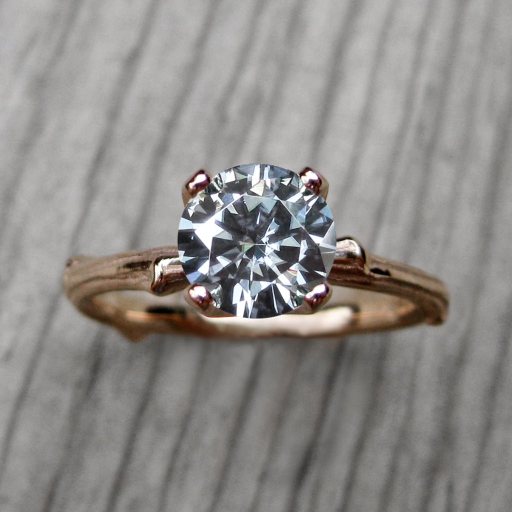 <center><strong>・JUNIPER・</strong><br></center> Charles & Colvard Grey Moissanite Twig Ring (1ct, Ready to Ship)