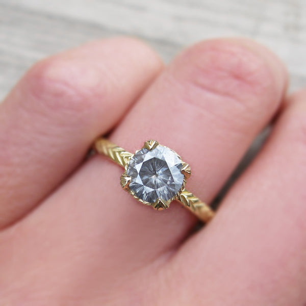 Grey Moissanite Feather Engagement Ring, Carved Setting (Ready to Ship)