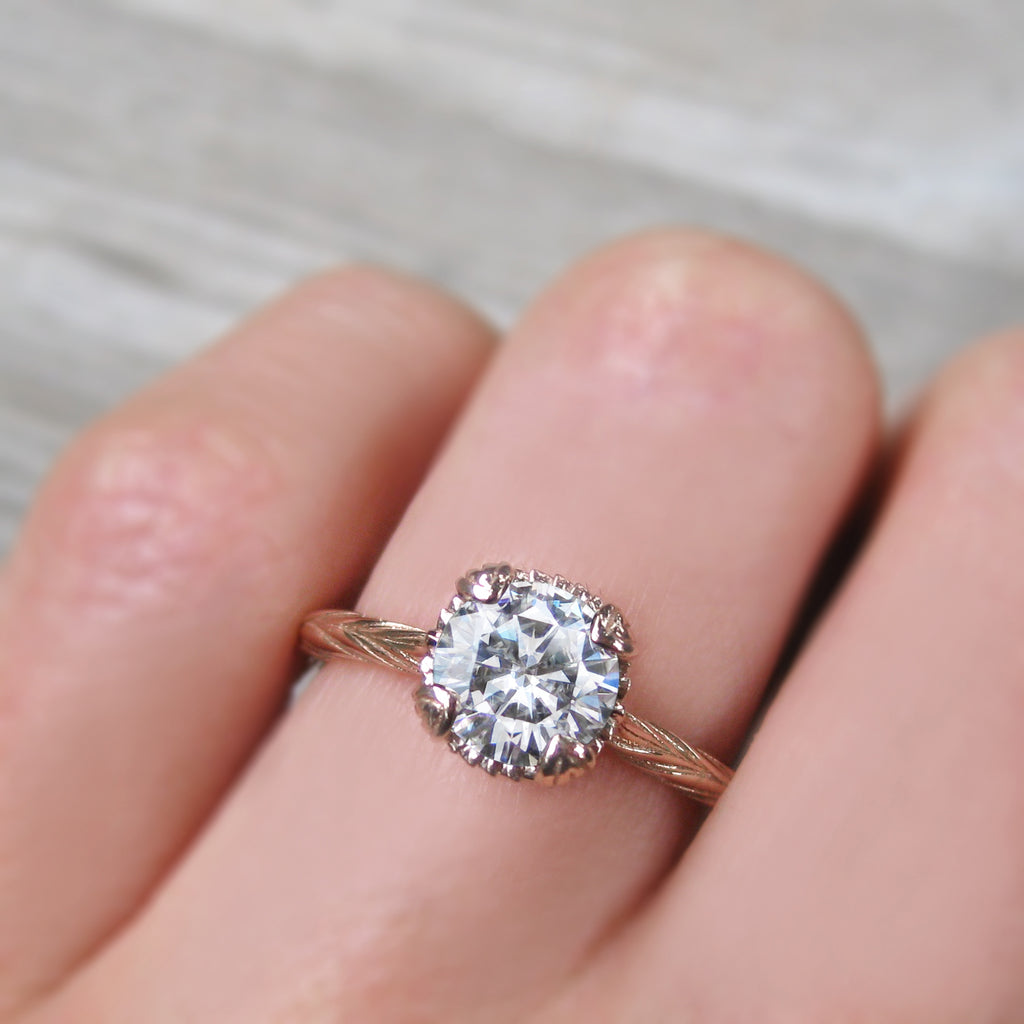 Cultured diamond engagement ring in rose gold