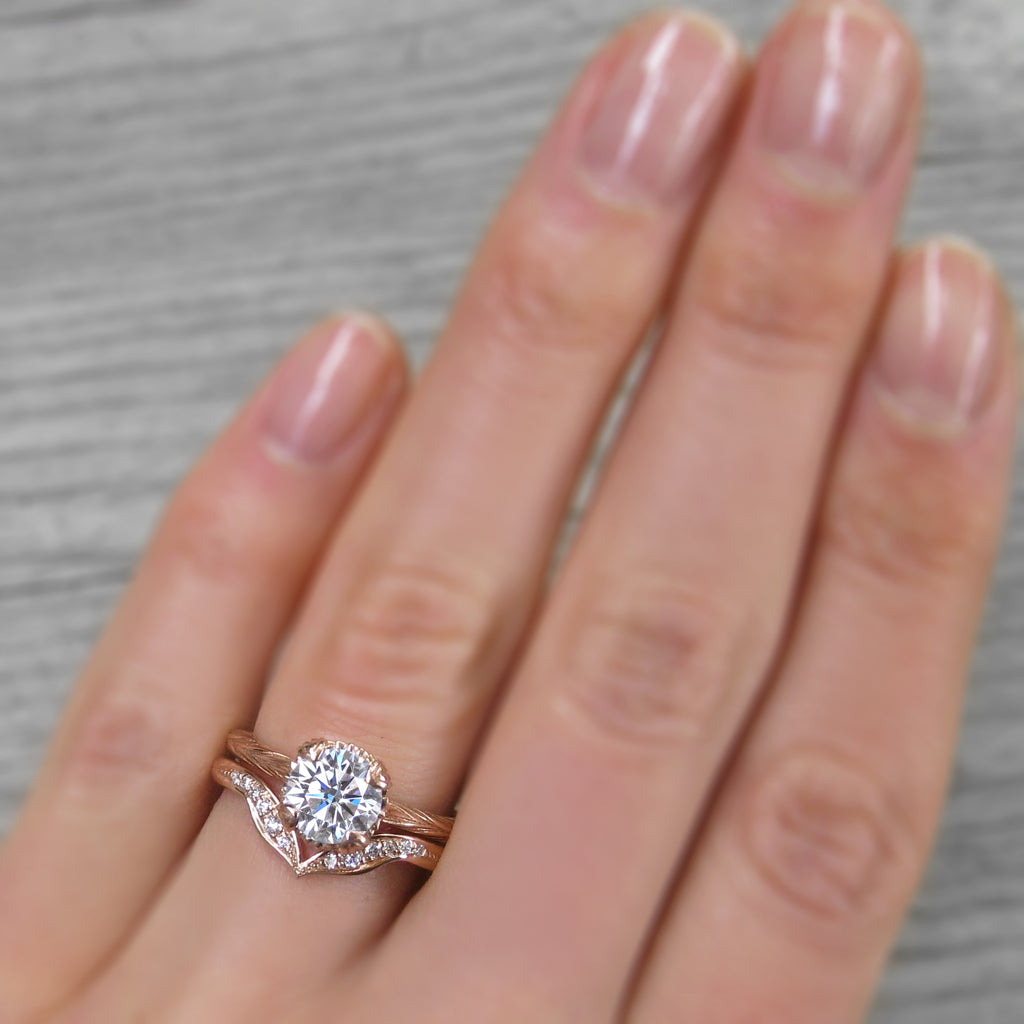 Stackable lab-created diamond engagement ring in rose gold