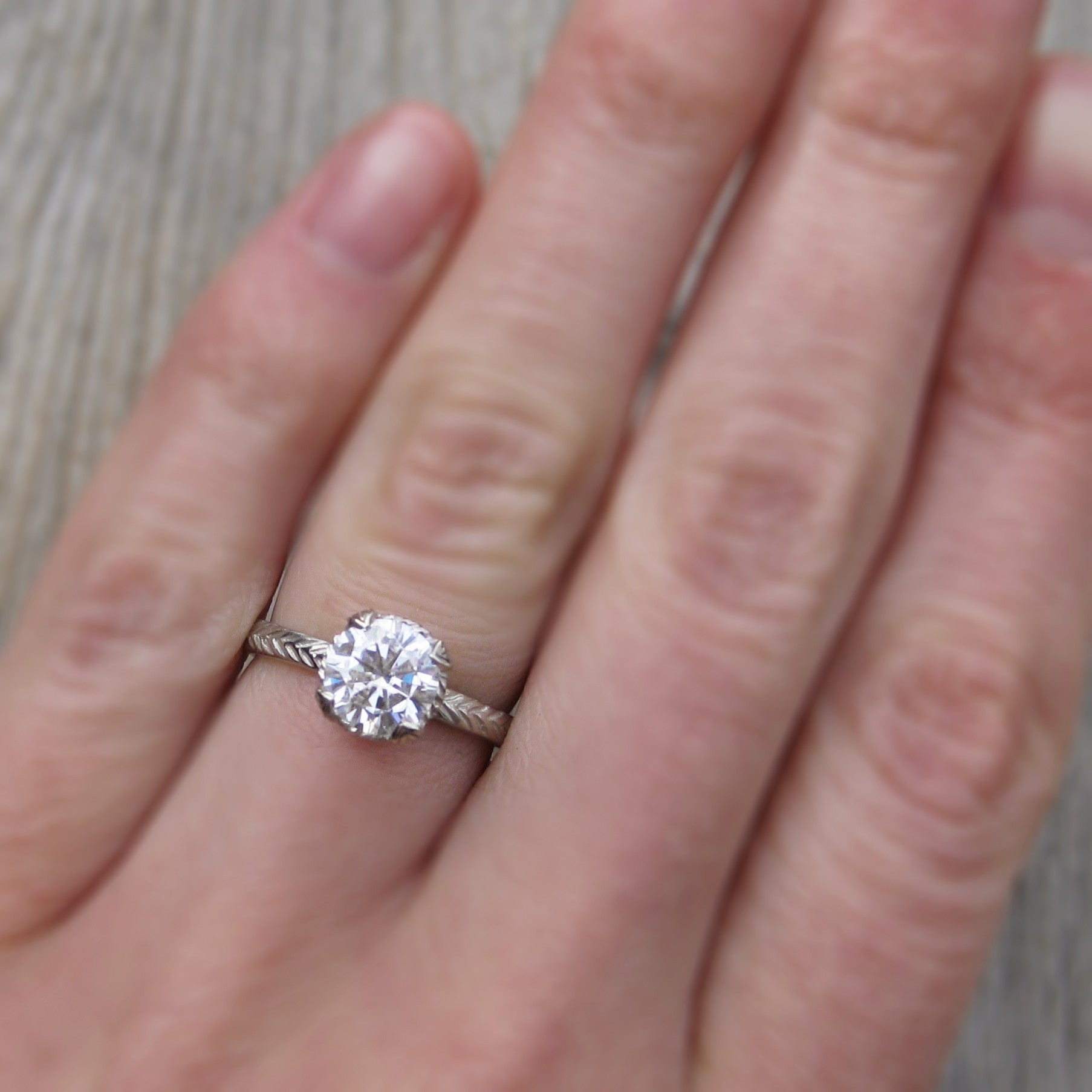 Lab Grown Diamond Feather Engagement Ring; 1.02ct - Kristin Coffin ...