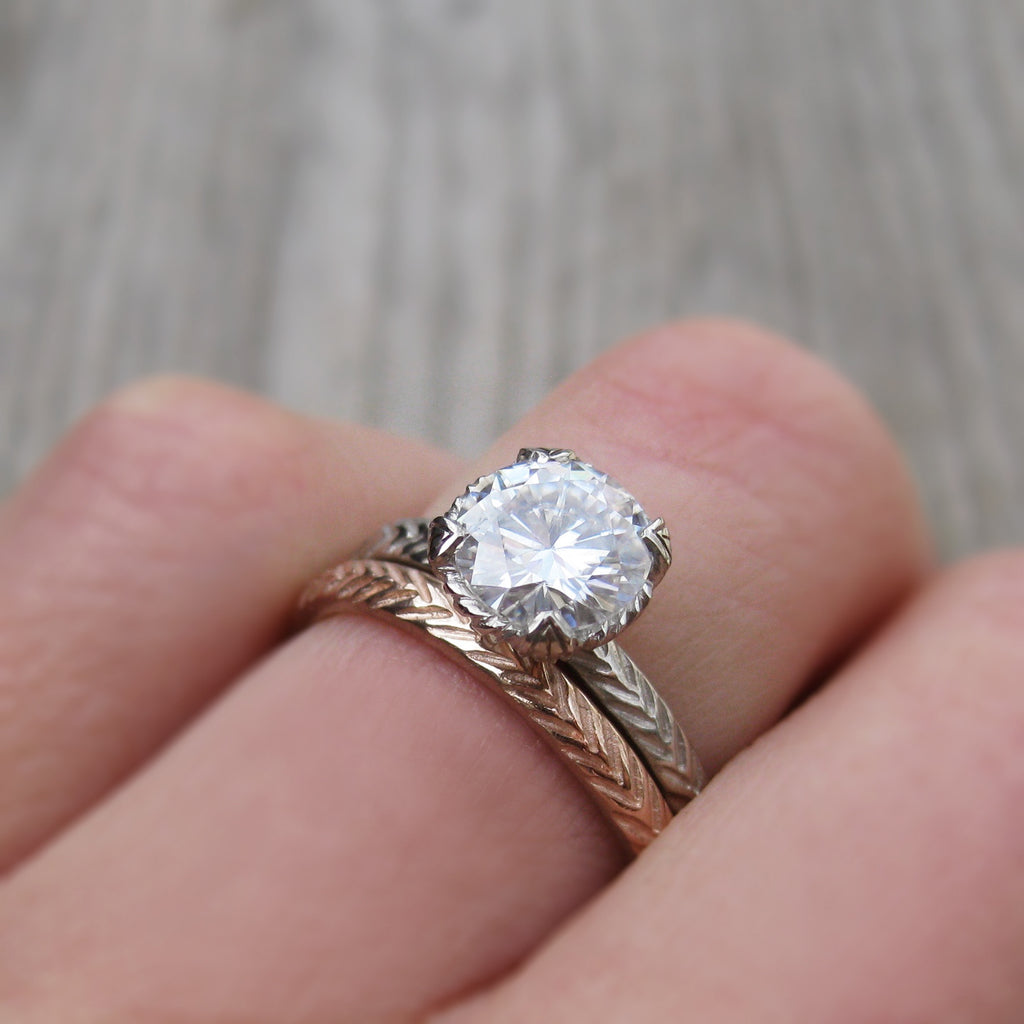 Ethical feather band stackable engagement ring with Hearts & Arrows moissanite