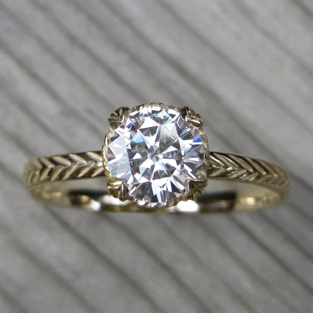 1ct yellow gold solitaire engagement ring with a Forever One Hearts & Arrows moissanite