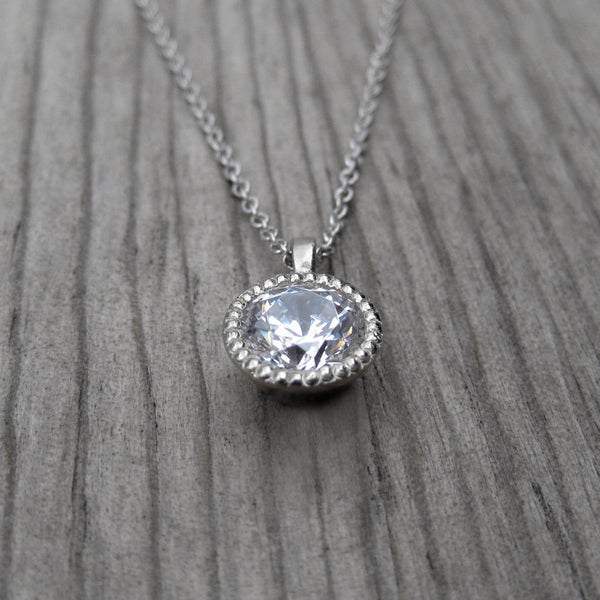 Moissanite Solitaire Necklace, 1ct | Kristin Coffin Jewelry