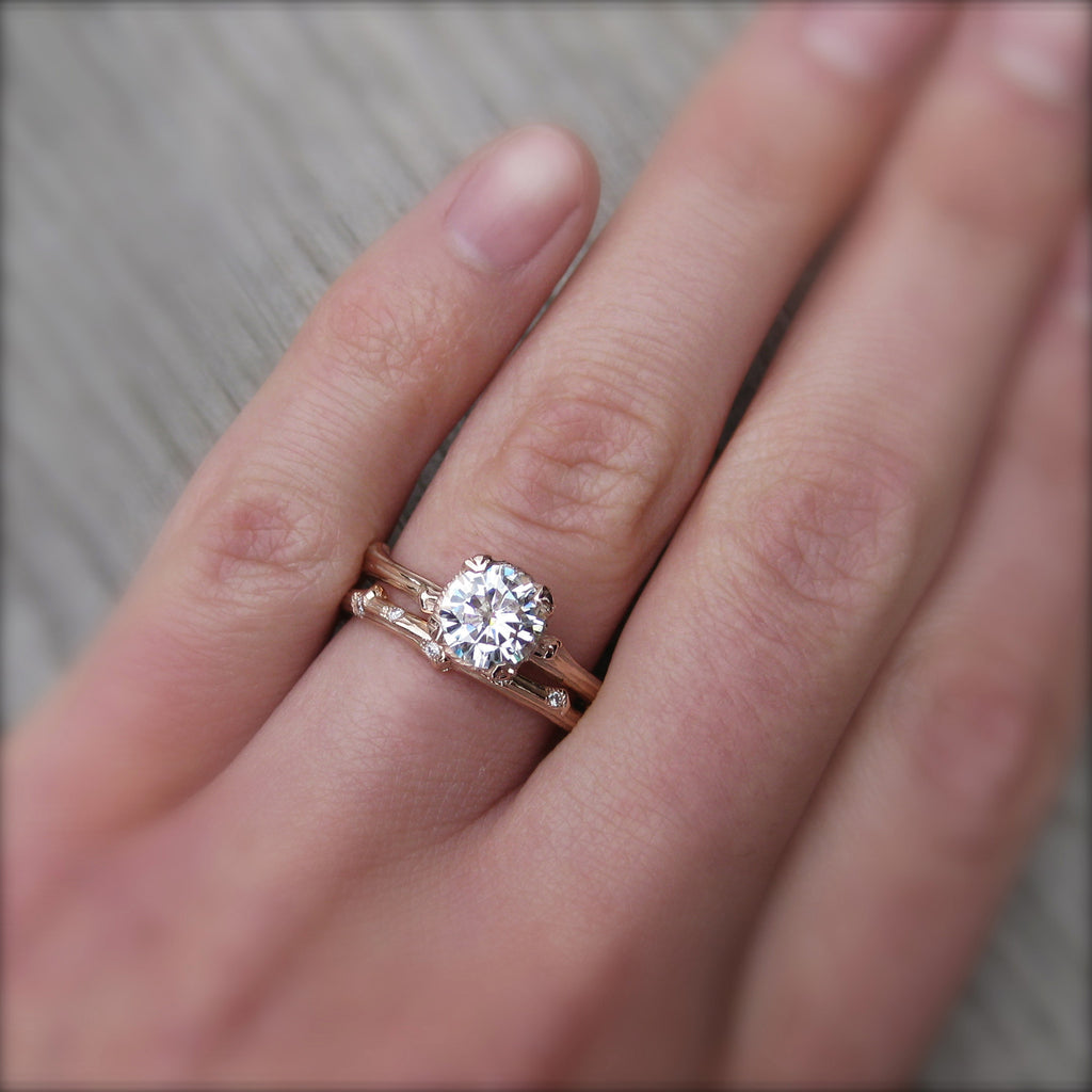 Forever Brilliant Moissanite Twig Engagement Ring and Wedding Band