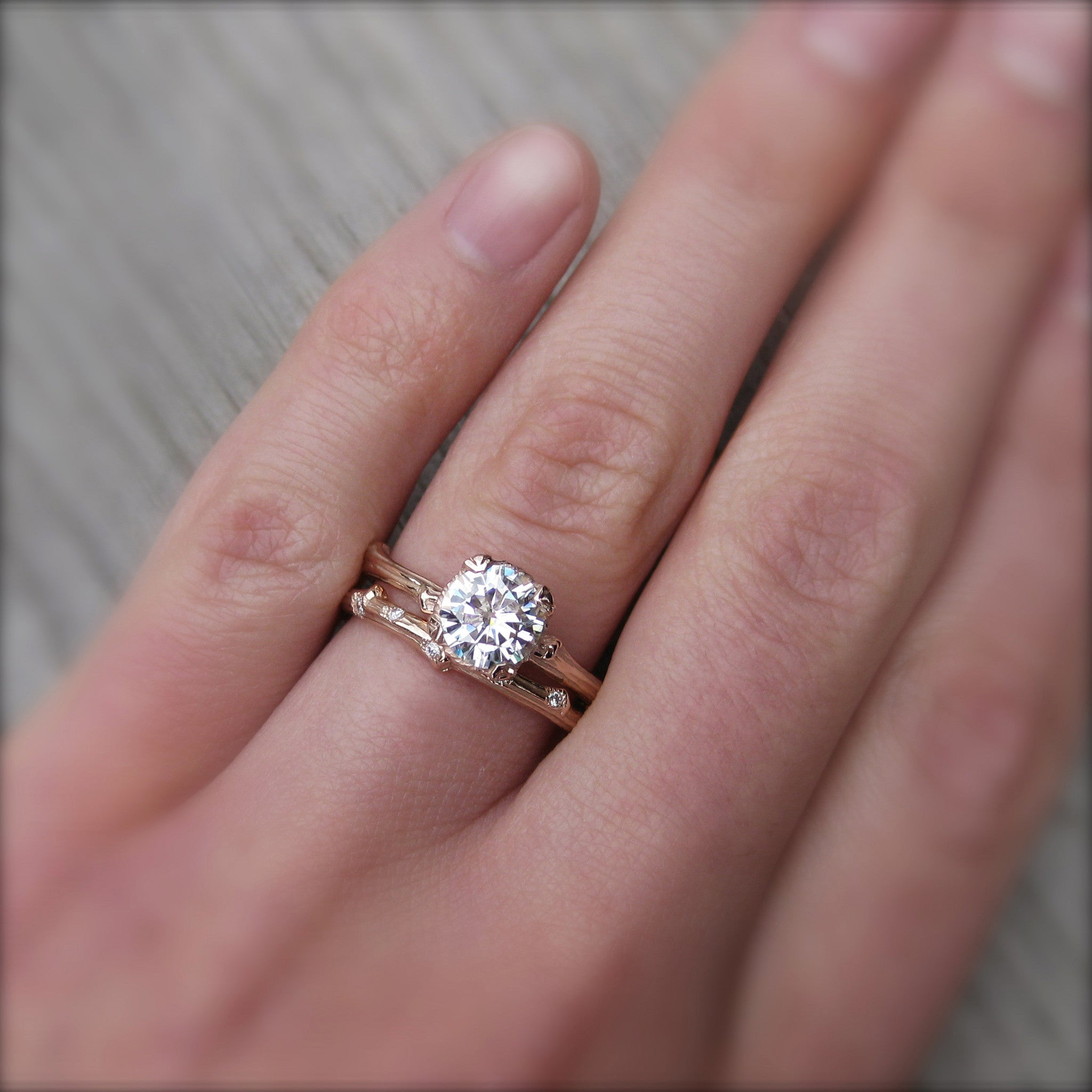 Forever One Moissanite Twig Engagement Ring And Wedding Band