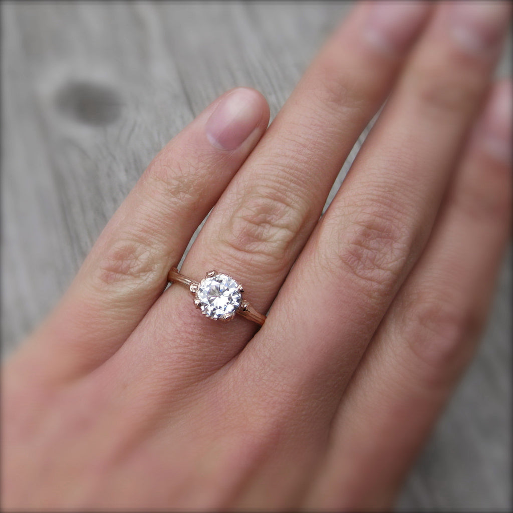 Round Forever One™ Moissanite Twig Engagement Ring, Carved Floral Setting (Ready to Ship)