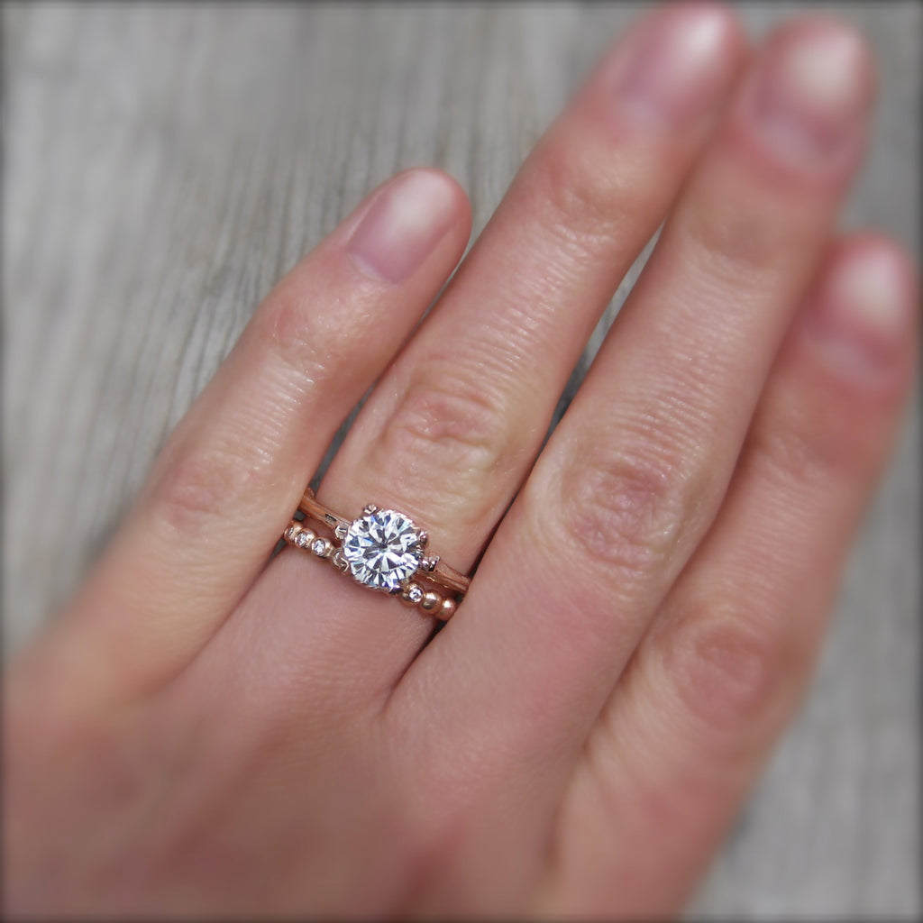 Round Forever One™ or Supernova™ Moissanite Twig Engagement Ring, Carved Floral Setting (1ct)