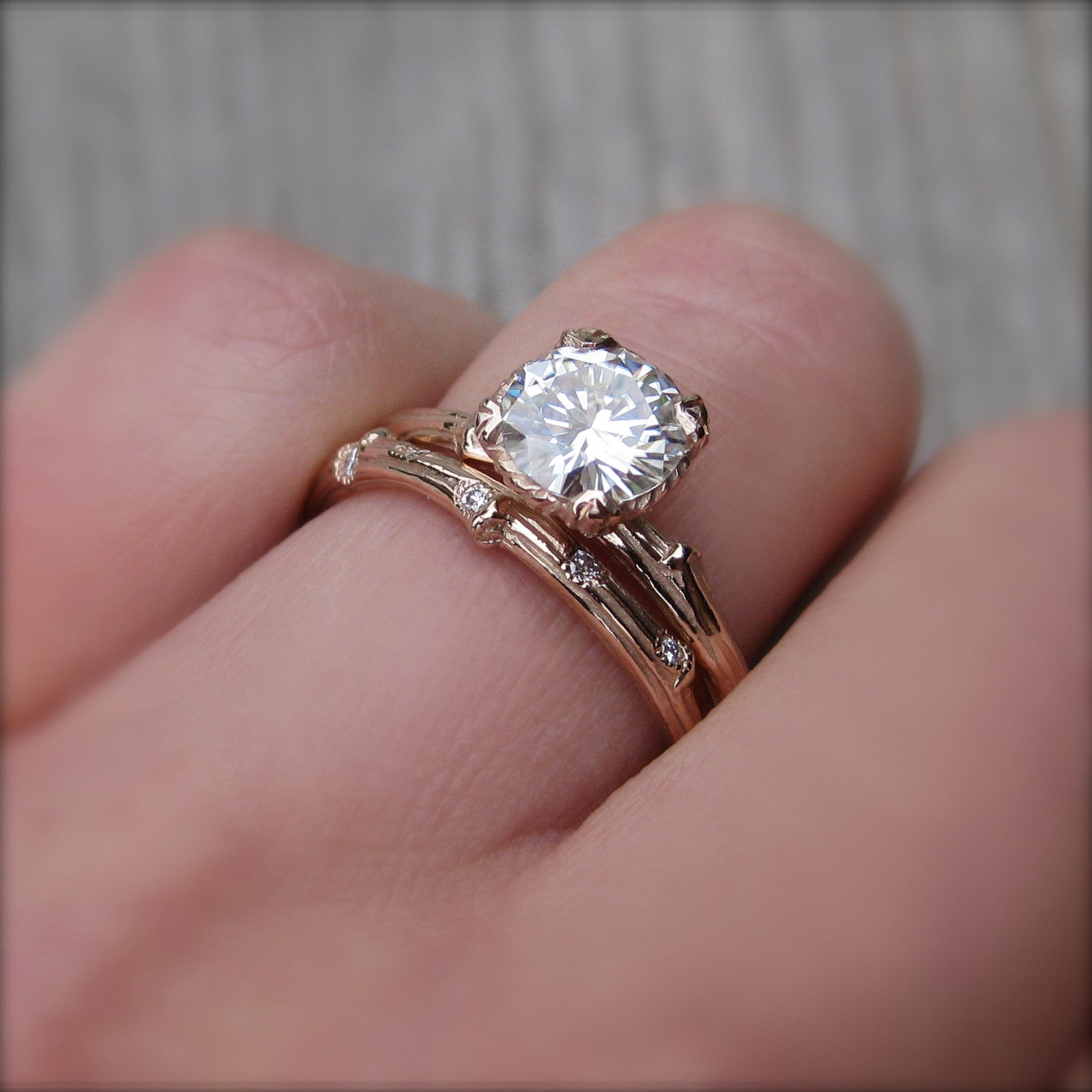 moissanite twig ring 1ct ready to ship