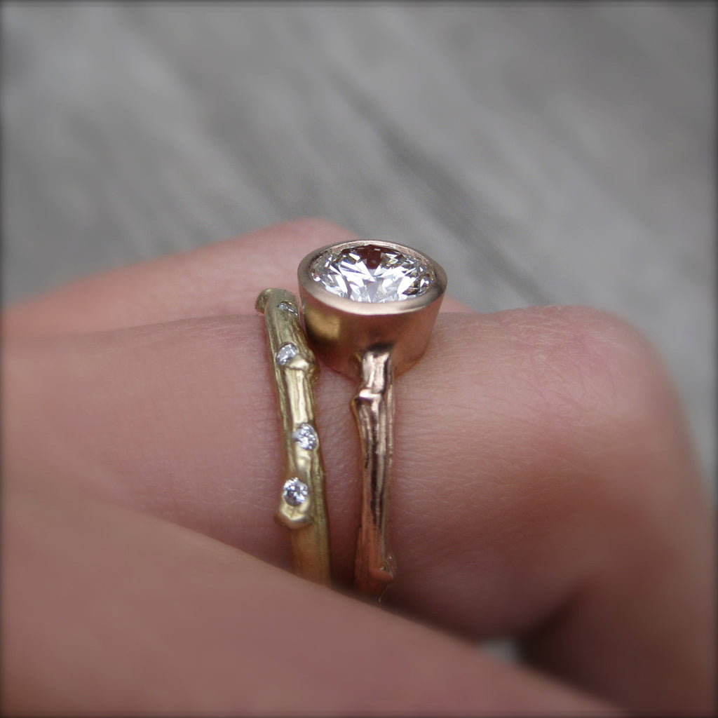 Round Cut Forever Brilliant Moissanite Twig Engagement Ring; .8 carat