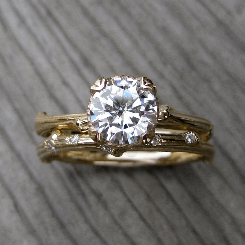 Stackable twig engagement ring with Hearts & Arrows moissanite with branch wedding band