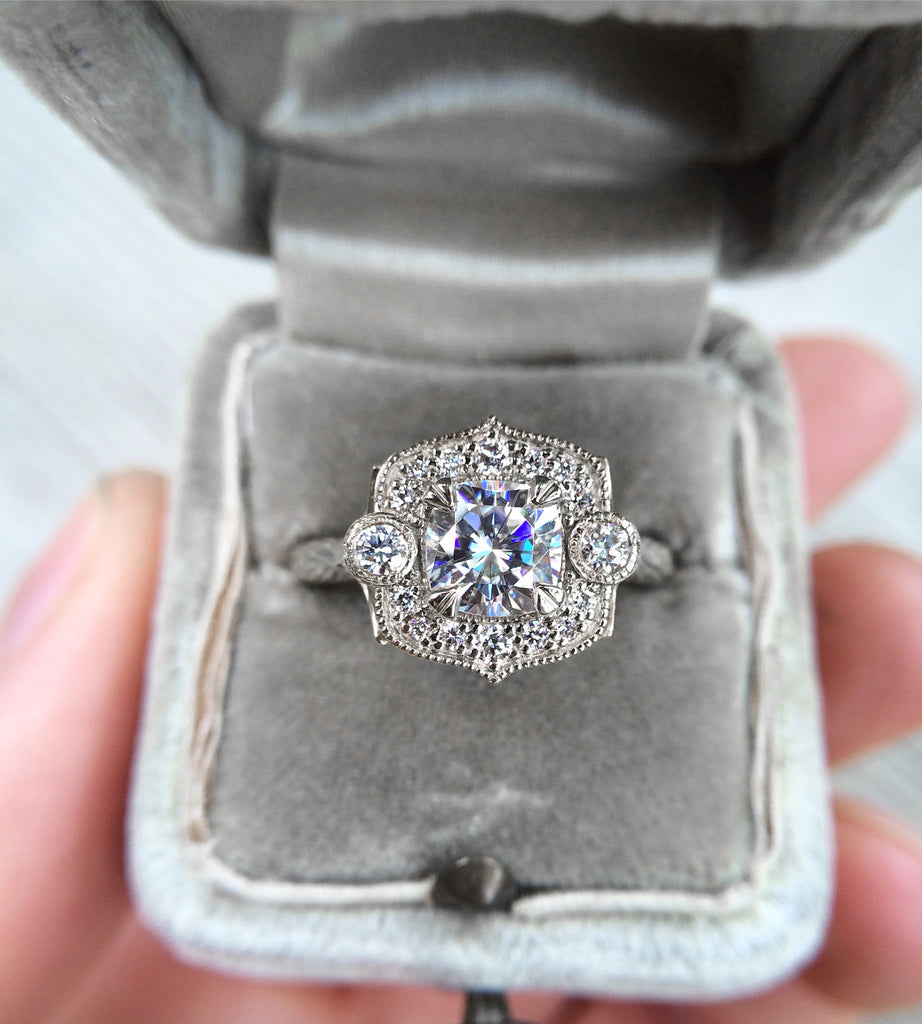 Cushion cut moissanite halo engagement ring with conflict-free diamonds
