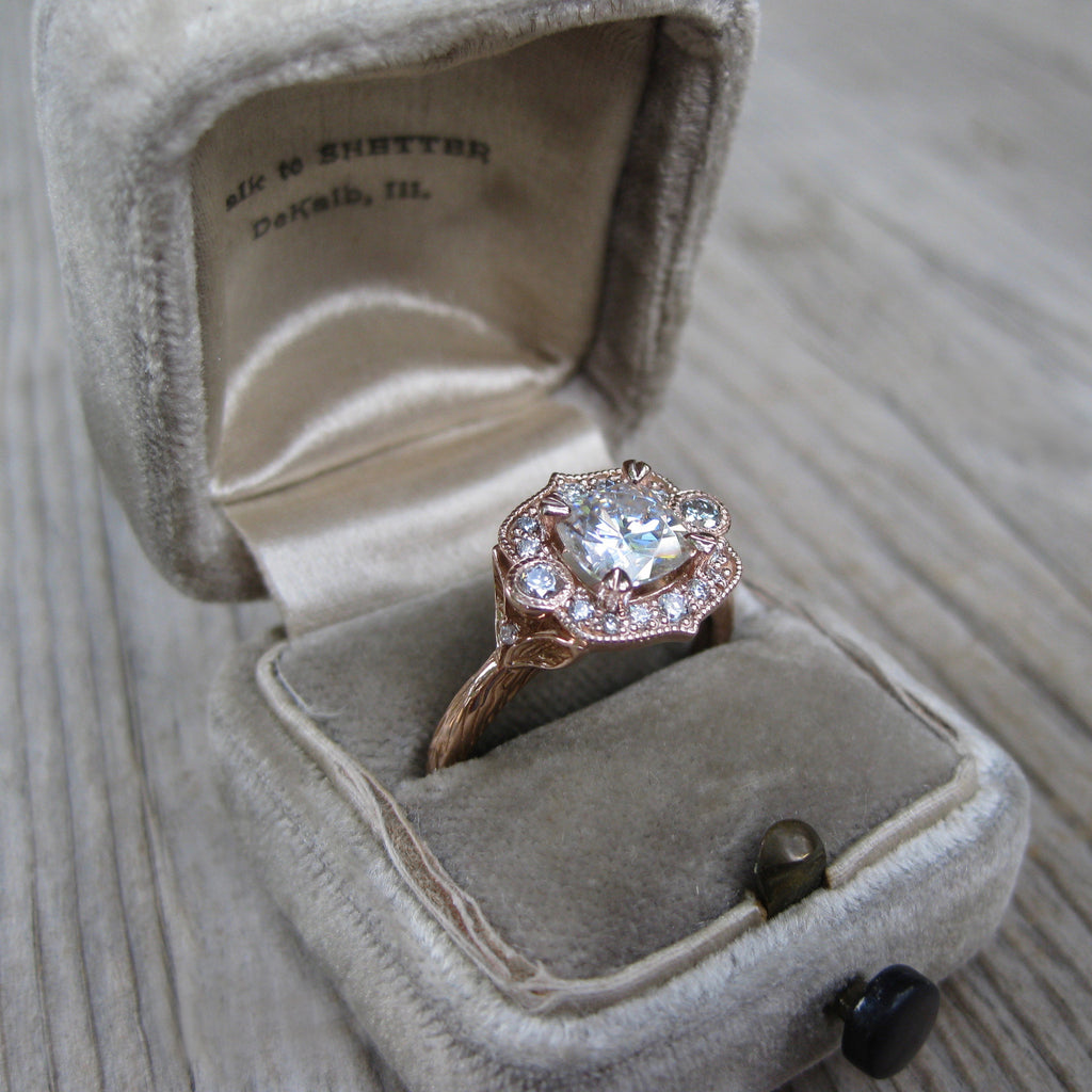 Cushion Moissanite Engagement Ring & Diamond Halo (1.35ct) | Kristin Coffin Jewelry