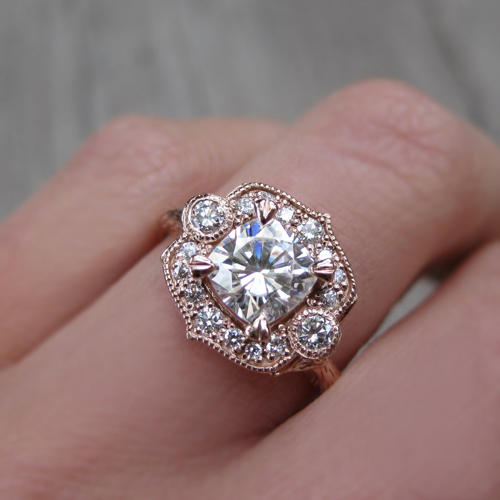 Low profile cushion cut moissanite vintage halo ring in rose gold