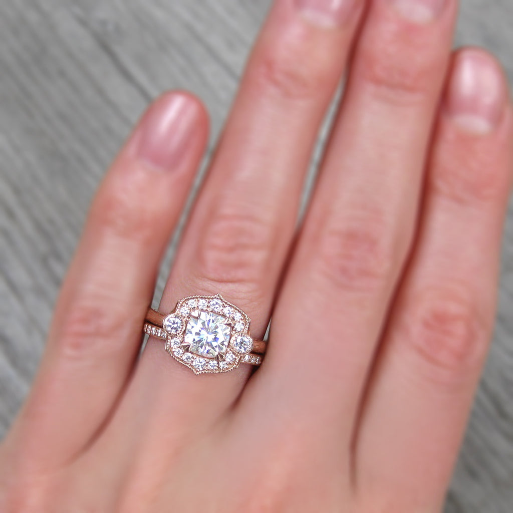 Forever One cushion cut moissanite art deco halo ring + conflict-free diamonds in rose gold