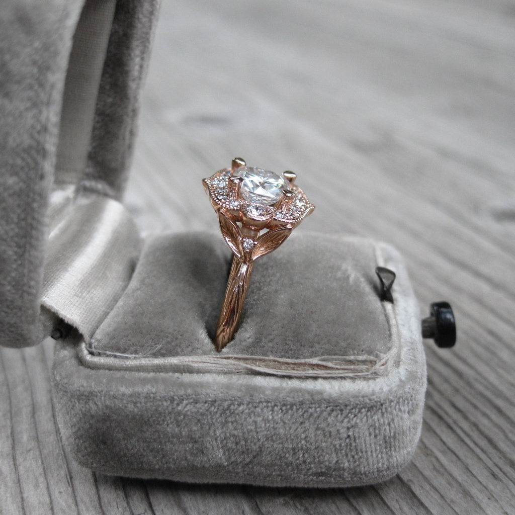Side view of lab grown diamond vintage halo ring in rose gold