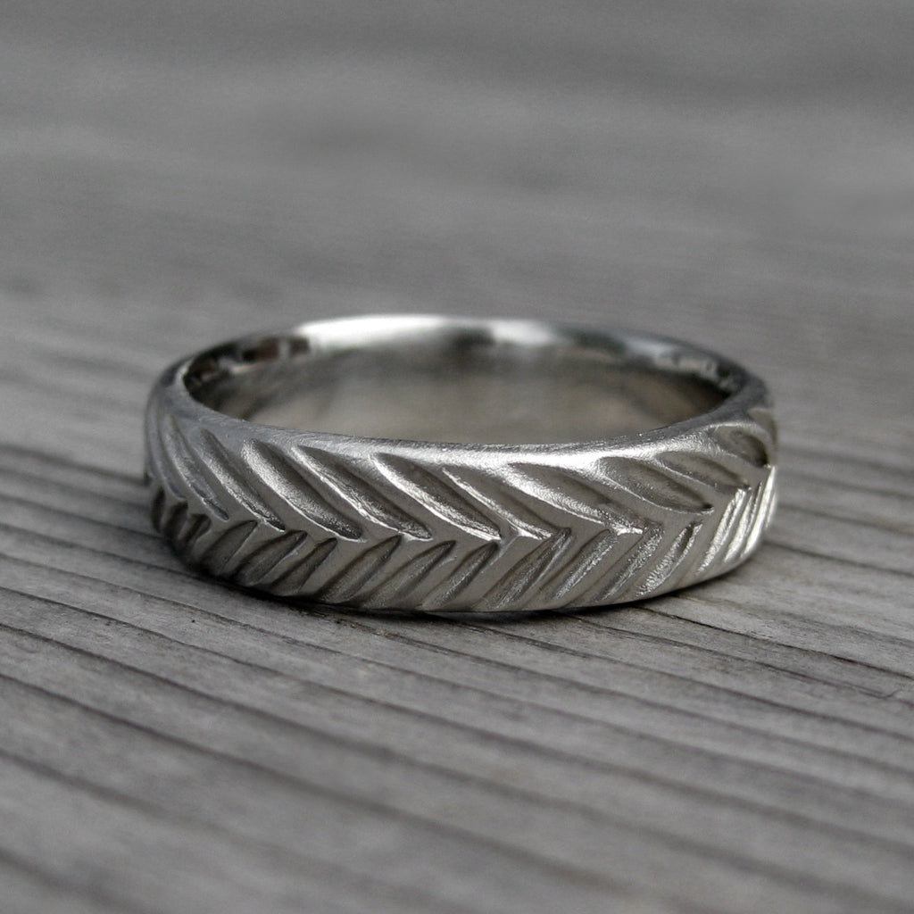 Wide Mens Feather Wedding Band | Kristin Coffin Jewelry