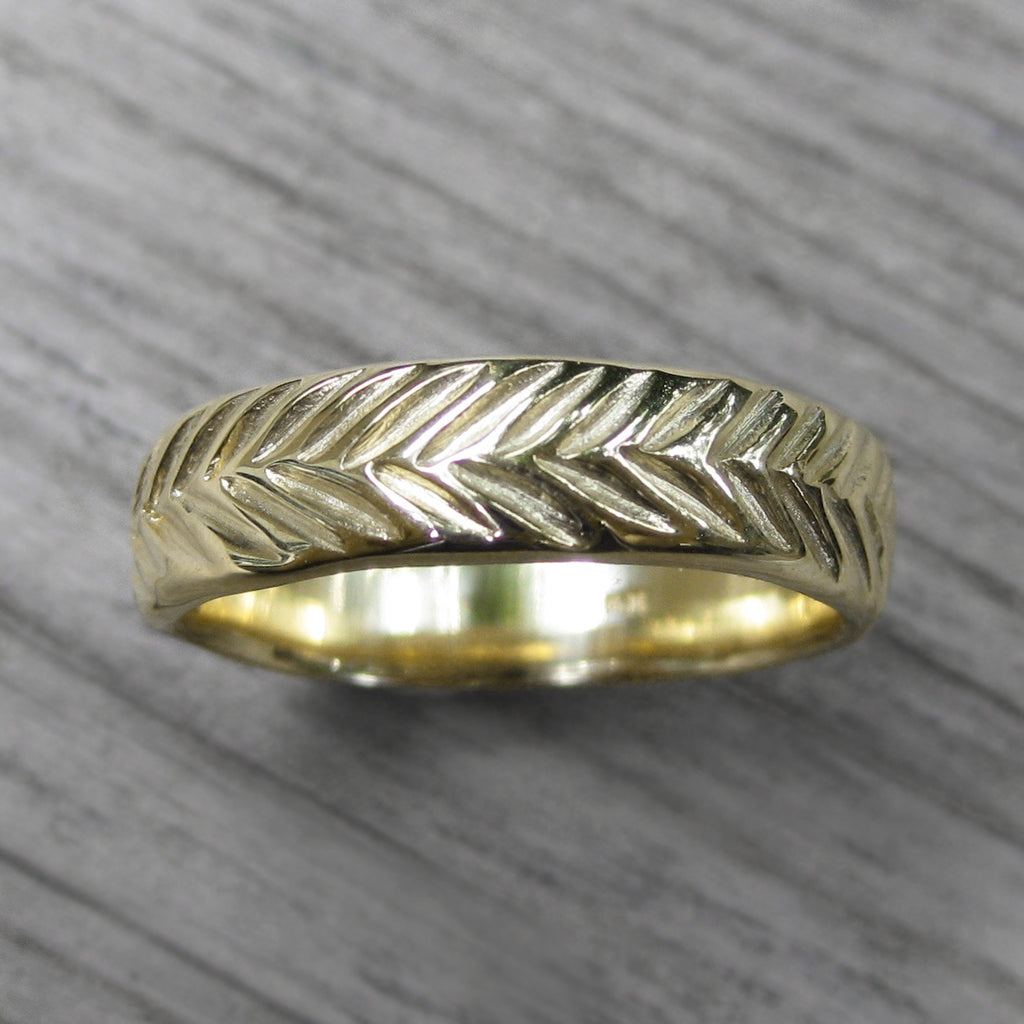 Wide Mens Feather Wedding Band, yellow gold  | Kristin Coffin Jewelry