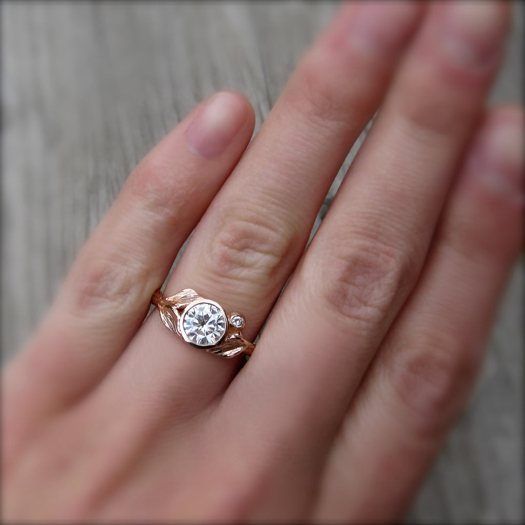 Round Forever Brilliant Moissanite Twig & Leaf Engagement Ring; .8ct