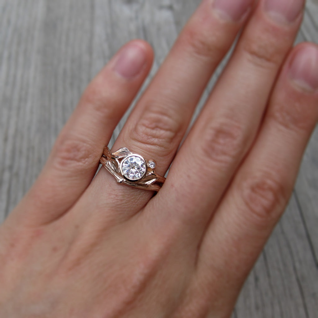 Stackable twig engagement ring with Forever One moissanite with branch wedding band