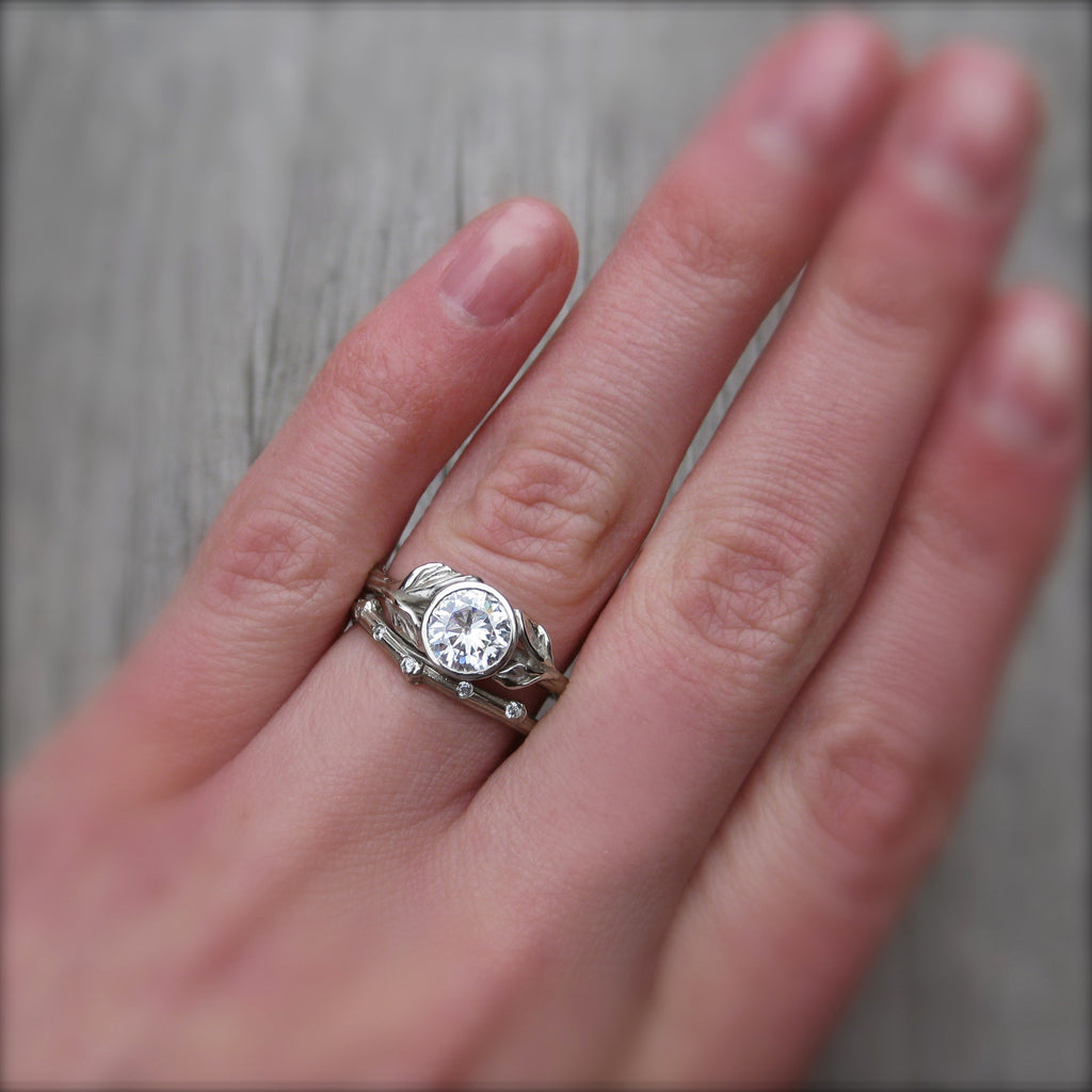 Stackable twig engagement ring Charles and Colvard moissanite with branch wedding band
